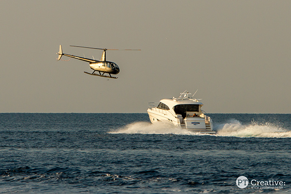 Helicopter yacht photography